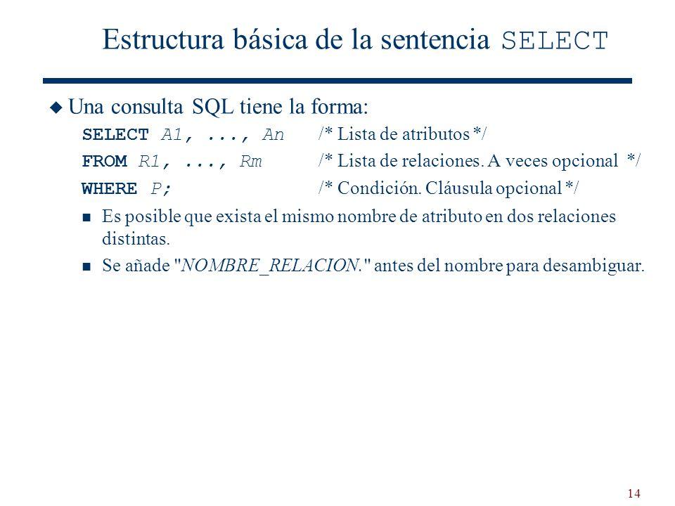 Estructura básica de la sentencia SELECT