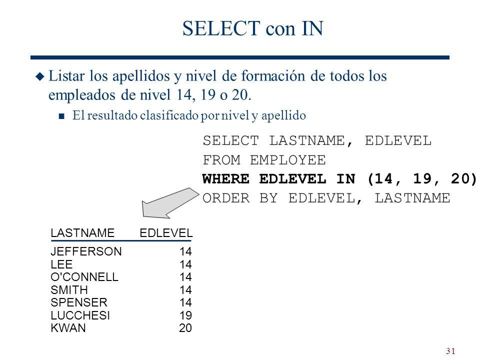 SELECT con IN Listar los apellidos y nivel de formación de todos los empleados de nivel 14, 19 o 20.