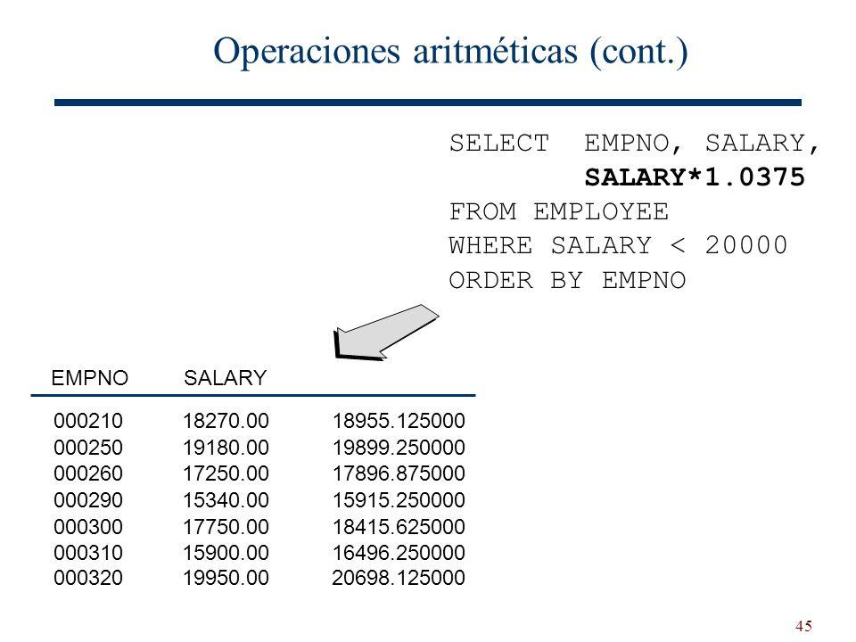 Operaciones aritméticas (cont.)