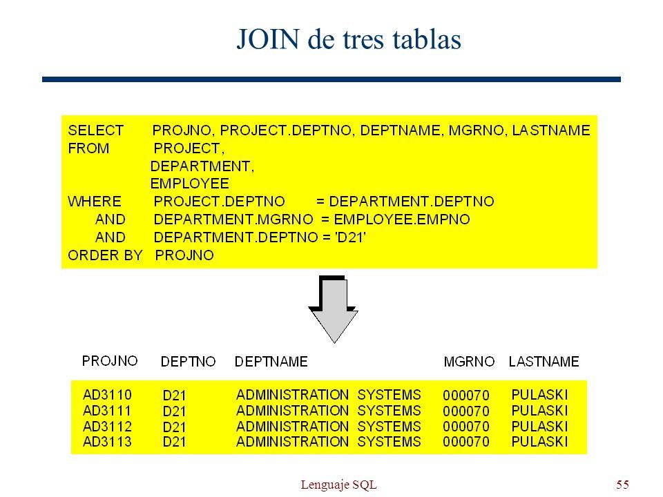 JOIN de tres tablas Lenguaje SQL