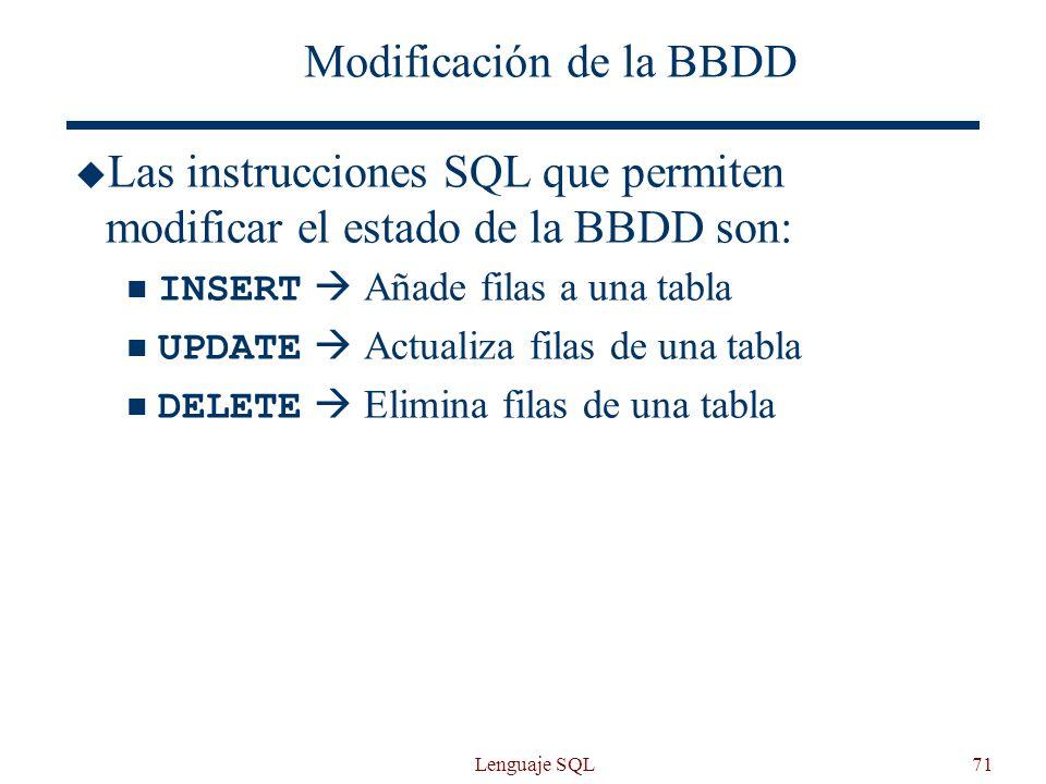 Modificación de la BBDD