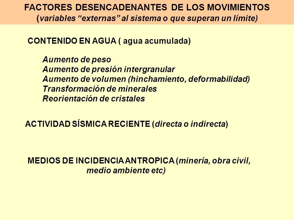 FACTORES DESENCADENANTES DE LOS MOVIMIENTOS