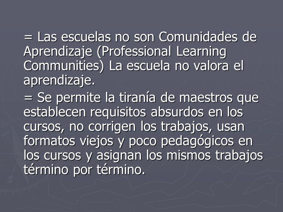 = Las escuelas no son Comunidades de Aprendizaje (Professional Learning Communities) La escuela no valora el aprendizaje.
