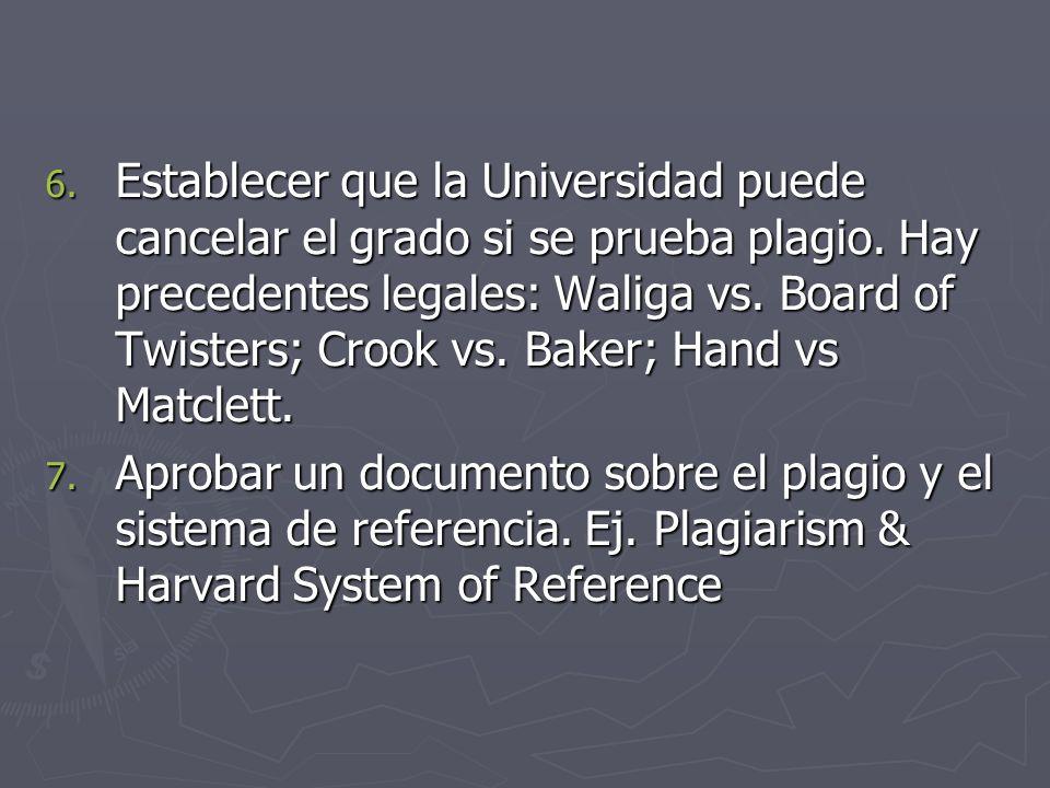 Establecer que la Universidad puede cancelar el grado si se prueba plagio. Hay precedentes legales: Waliga vs. Board of Twisters; Crook vs. Baker; Hand vs Matclett.