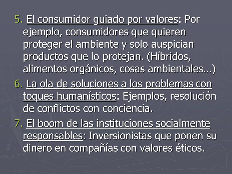 5. El consumidor guiado por valores: Por ejemplo, consumidores que quieren proteger el ambiente y solo auspician productos que lo protejan. (Híbridos, alimentos orgánicos, cosas ambientales…)
