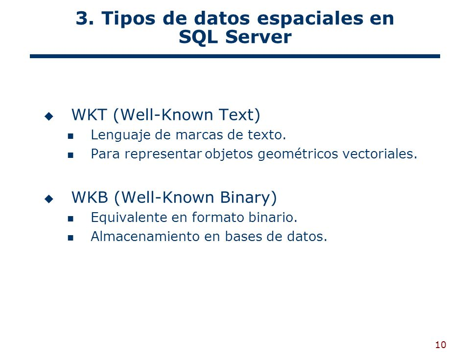 3. Tipos de datos espaciales en SQL Server