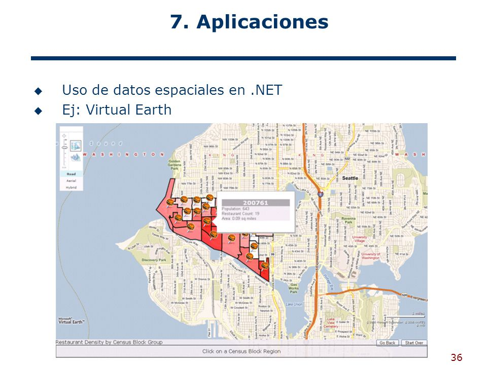 7. Aplicaciones Uso de datos espaciales en .NET Ej: Virtual Earth