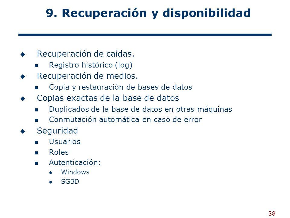 9. Recuperación y disponibilidad