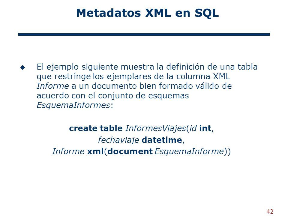 Metadatos XML en SQL