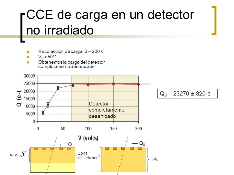CCE de carga en un detector no irradiado