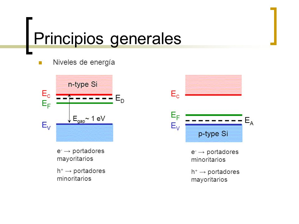Principios generales Niveles de energía e- → portadores mayoritarios