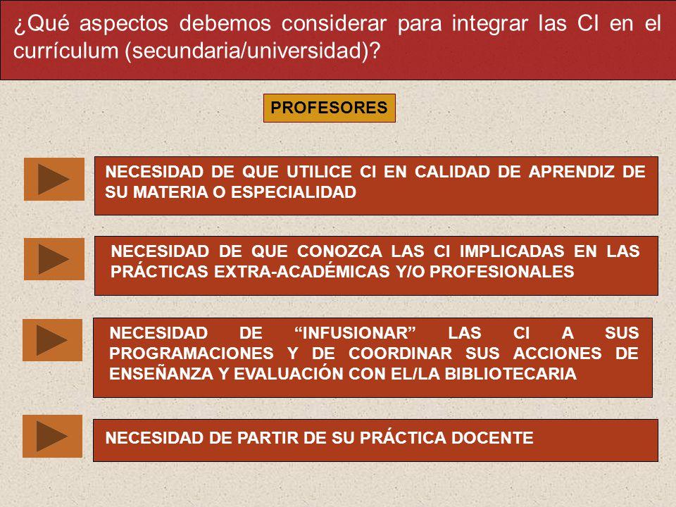 ¿Qué aspectos debemos considerar para integrar las CI en el currículum (secundaria/universidad)