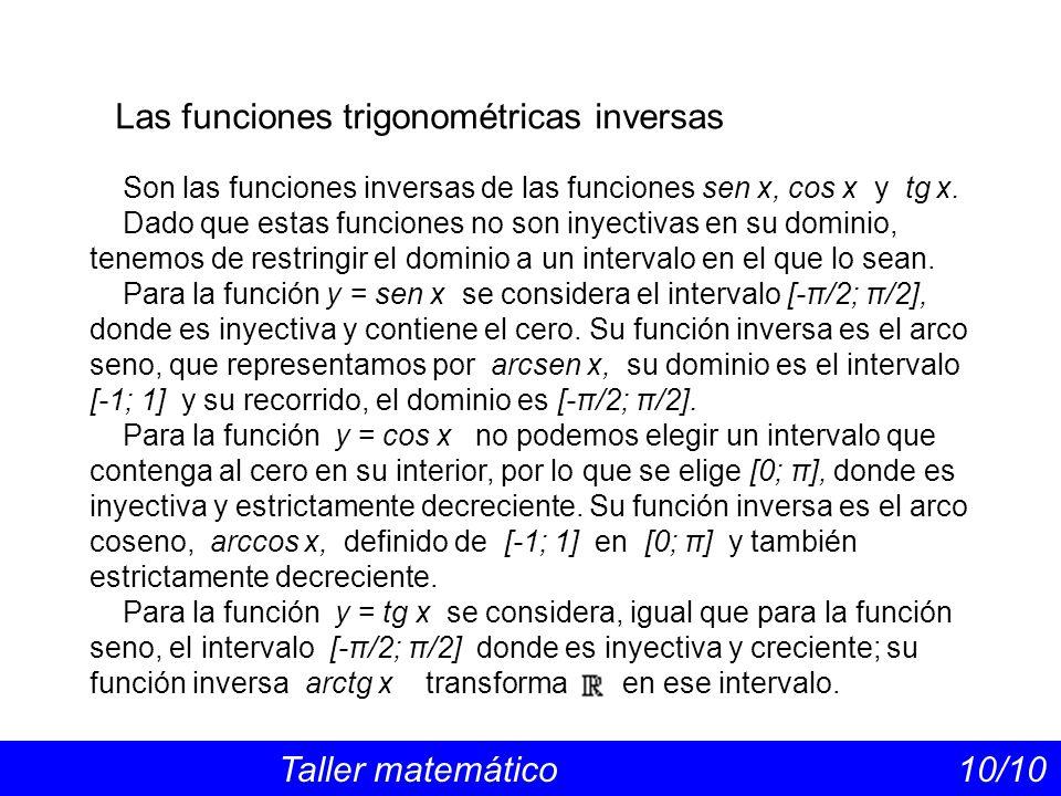 Las funciones trigonométricas inversas