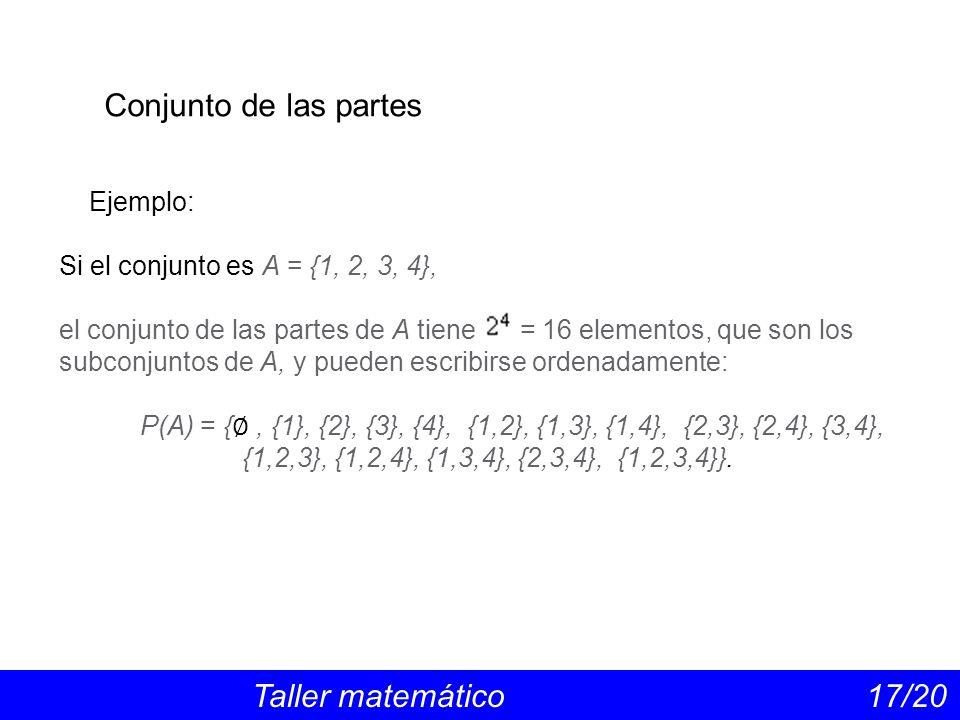 Conjunto de las partes Ejemplo: Si el conjunto es A = {1, 2, 3, 4},