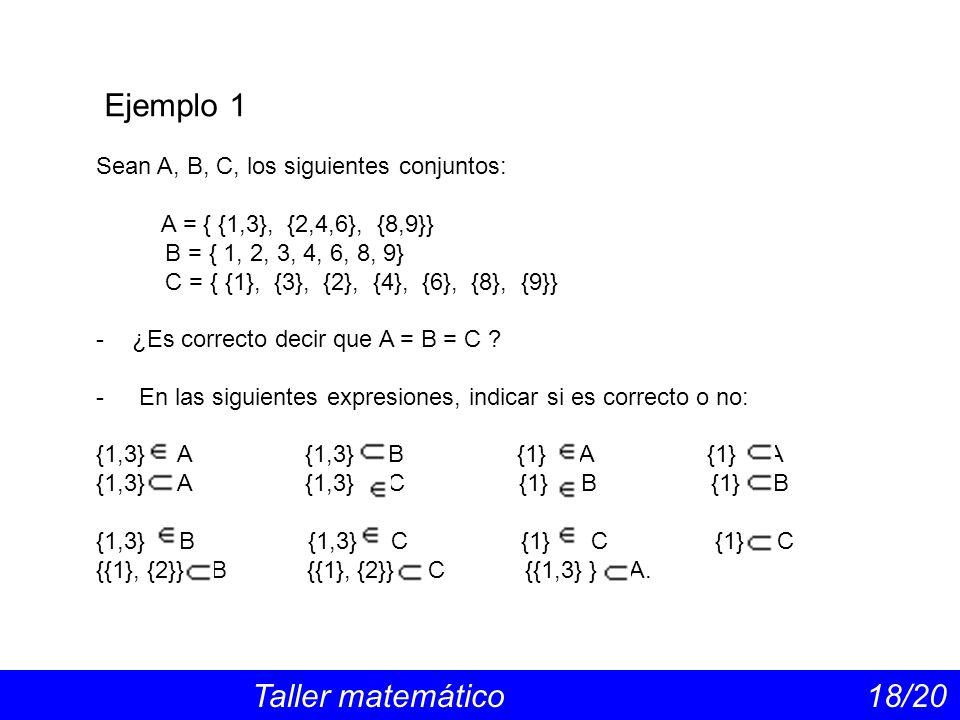 Ejemplo 1 Taller matemático 18/20