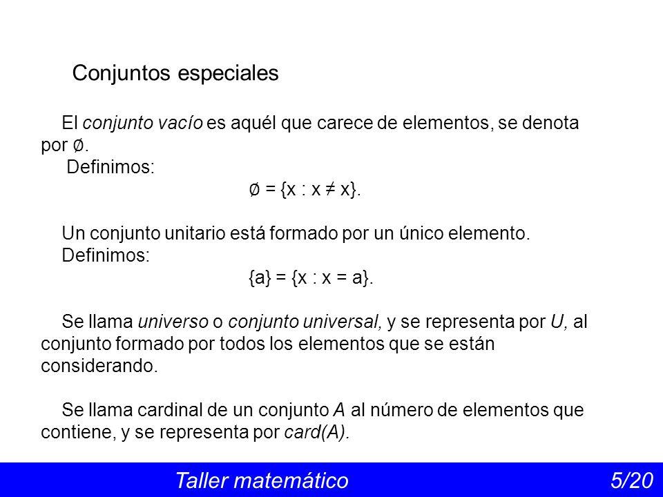 Conjuntos especiales El conjunto vacío es aquél que carece de elementos, se denota por ∅. Definimos: