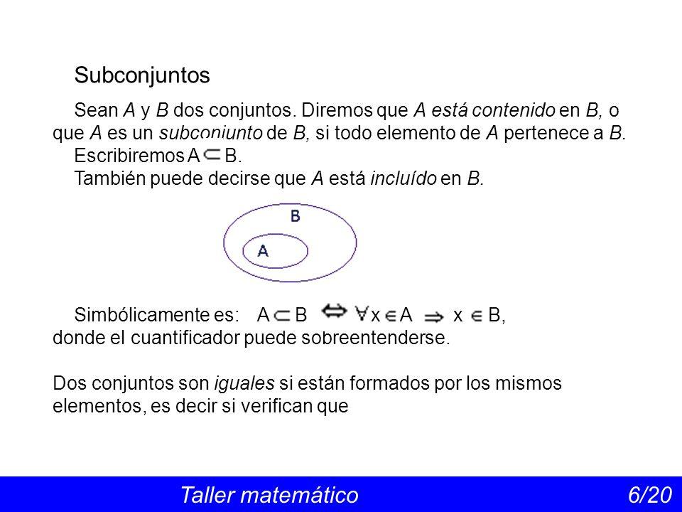 Subconjuntos Sean A y B dos conjuntos. Diremos que A está contenido en B, o que A es un subconjunto de B, si todo elemento de A pertenece a B.
