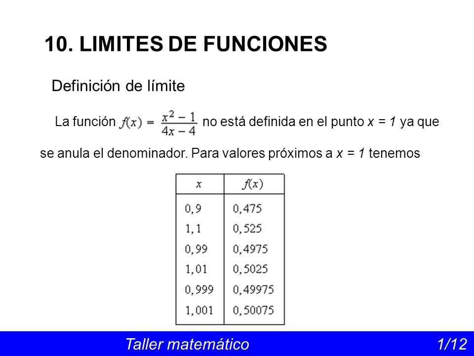 10. LIMITES DE FUNCIONES Definición de límite
