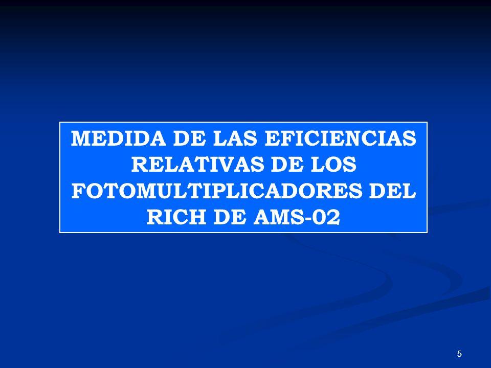 MEDIDA DE LAS EFICIENCIAS RELATIVAS DE LOS FOTOMULTIPLICADORES DEL RICH DE AMS-02