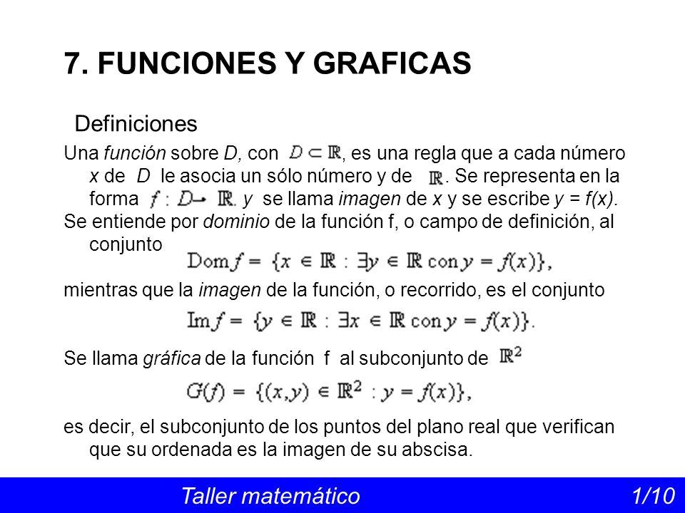 7. FUNCIONES Y GRAFICAS Definiciones