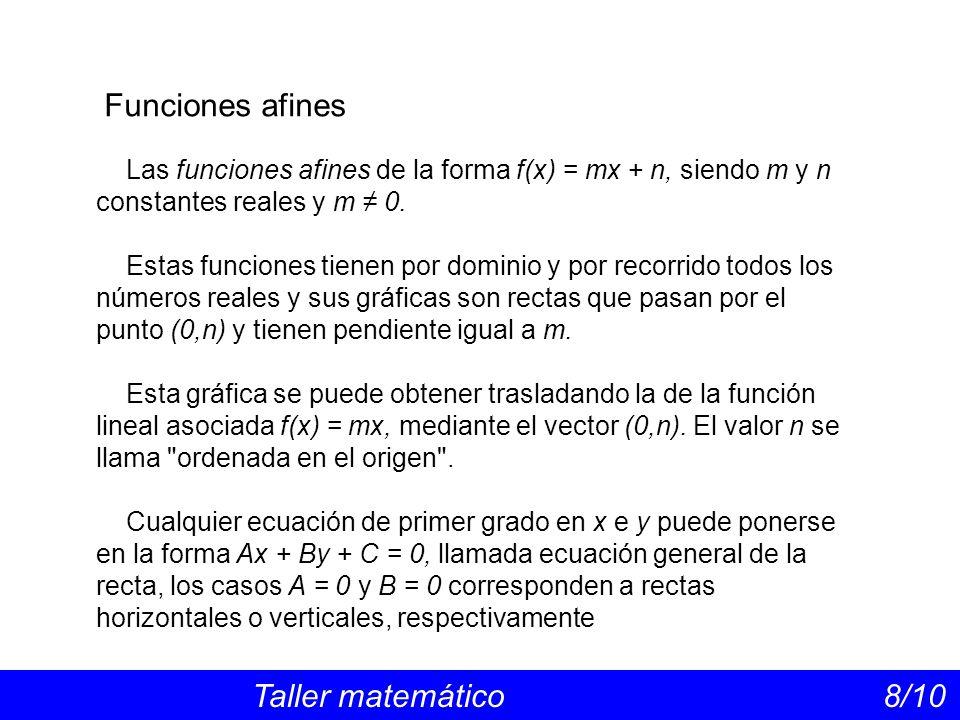 Funciones afines Las funciones afines de la forma f(x) = mx + n, siendo m y n constantes reales y m ≠ 0.