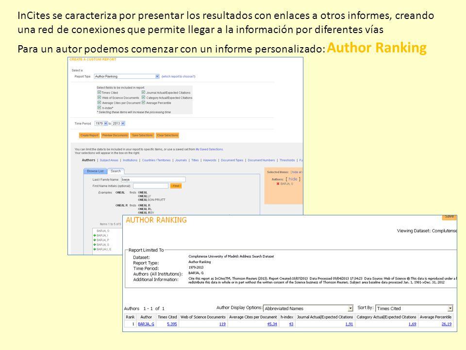 InCites se caracteriza por presentar los resultados con enlaces a otros informes, creando una red de conexiones que permite llegar a la información por diferentes vías