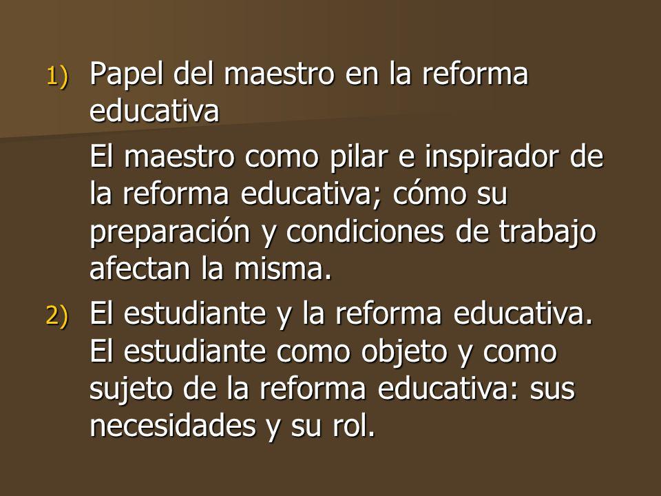 Papel del maestro en la reforma educativa