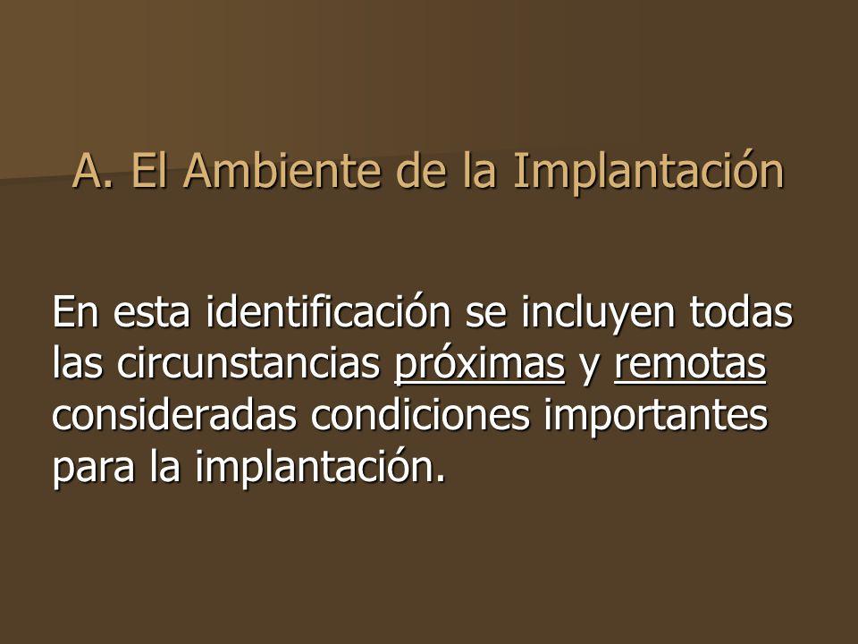 A. El Ambiente de la Implantación
