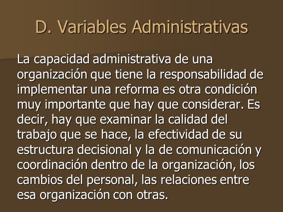 D. Variables Administrativas