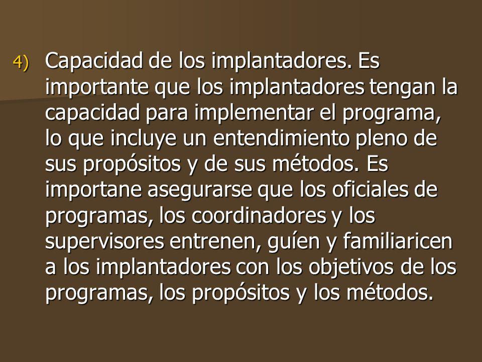 Capacidad de los implantadores