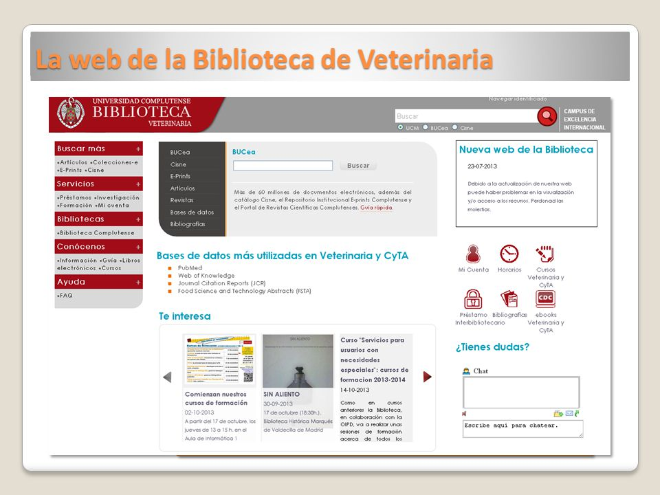 La web de la Biblioteca de Veterinaria