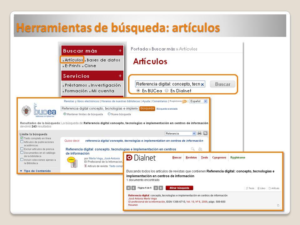 Herramientas de búsqueda: artículos