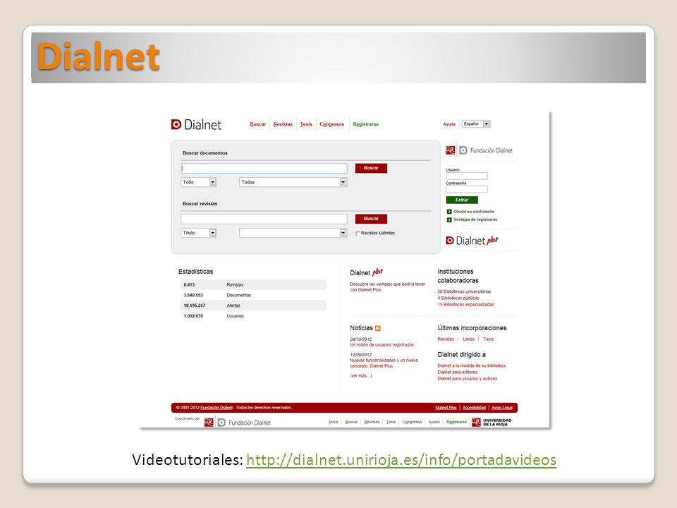 Videotutoriales: http://dialnet.unirioja.es/info/portadavideos