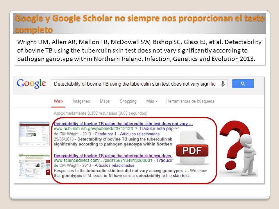 Google y Google Scholar no siempre nos proporcionan el texto completo
