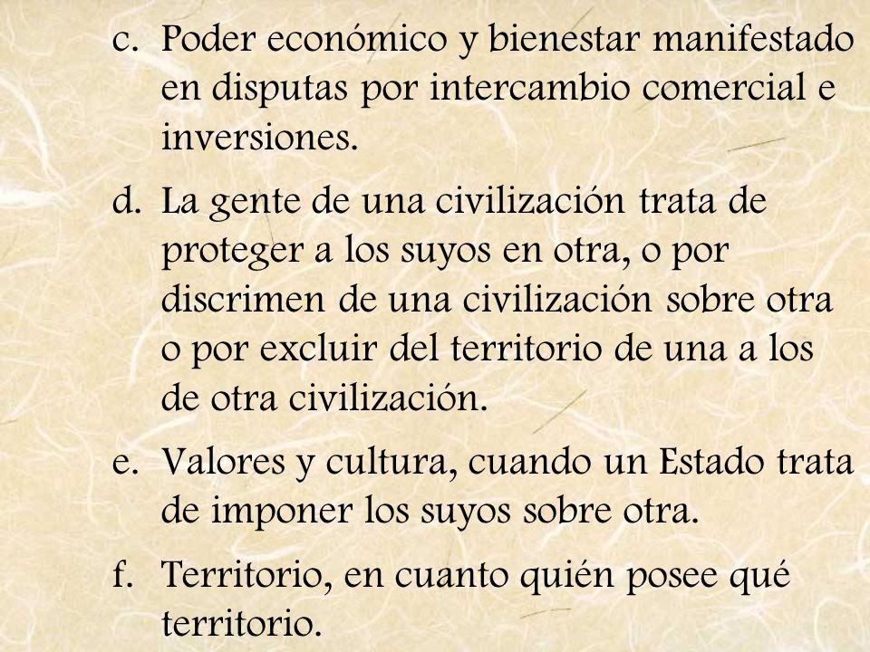 Poder económico y bienestar manifestado en disputas por intercambio comercial e inversiones.