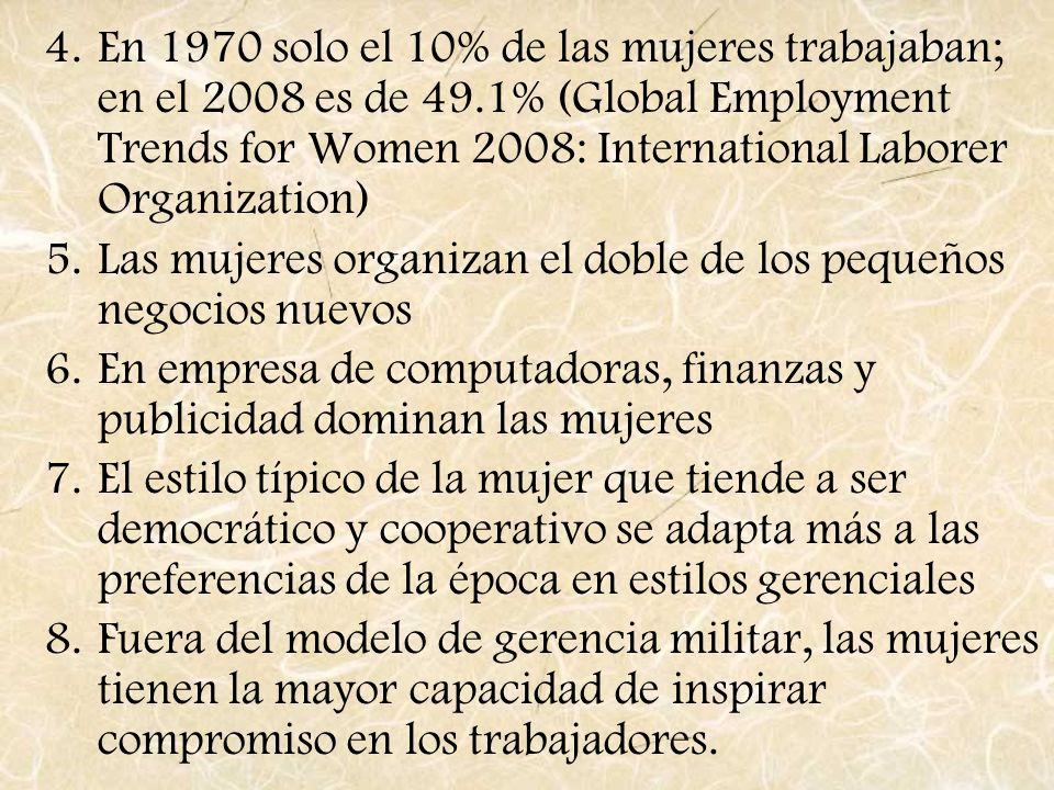 En 1970 solo el 10% de las mujeres trabajaban; en el 2008 es de 49