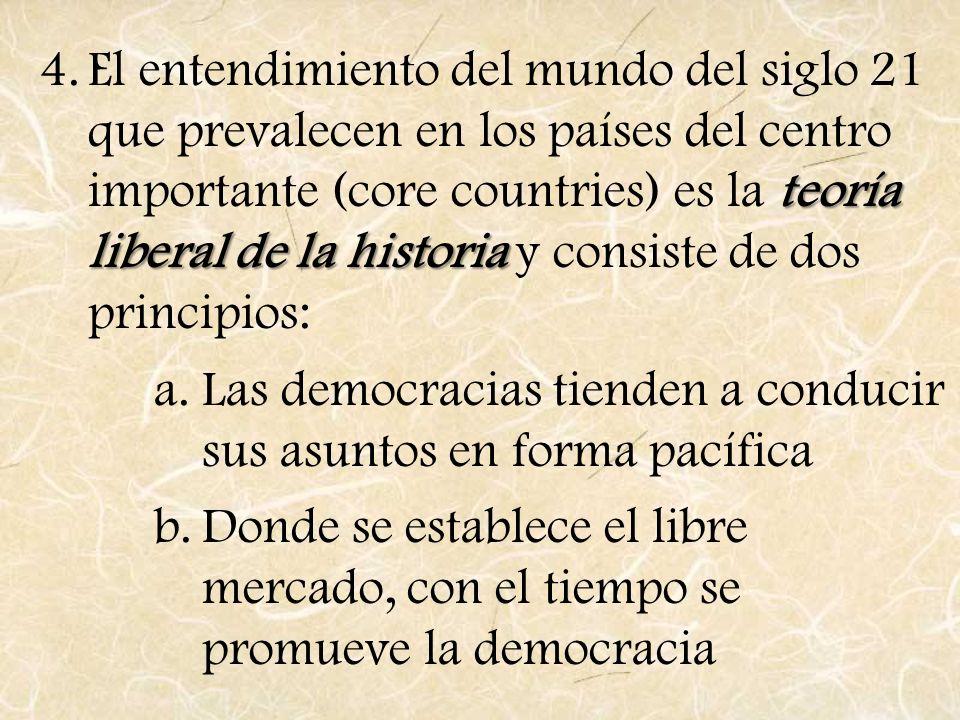 El entendimiento del mundo del siglo 21 que prevalecen en los países del centro importante (core countries) es la teoría liberal de la historia y consiste de dos principios: