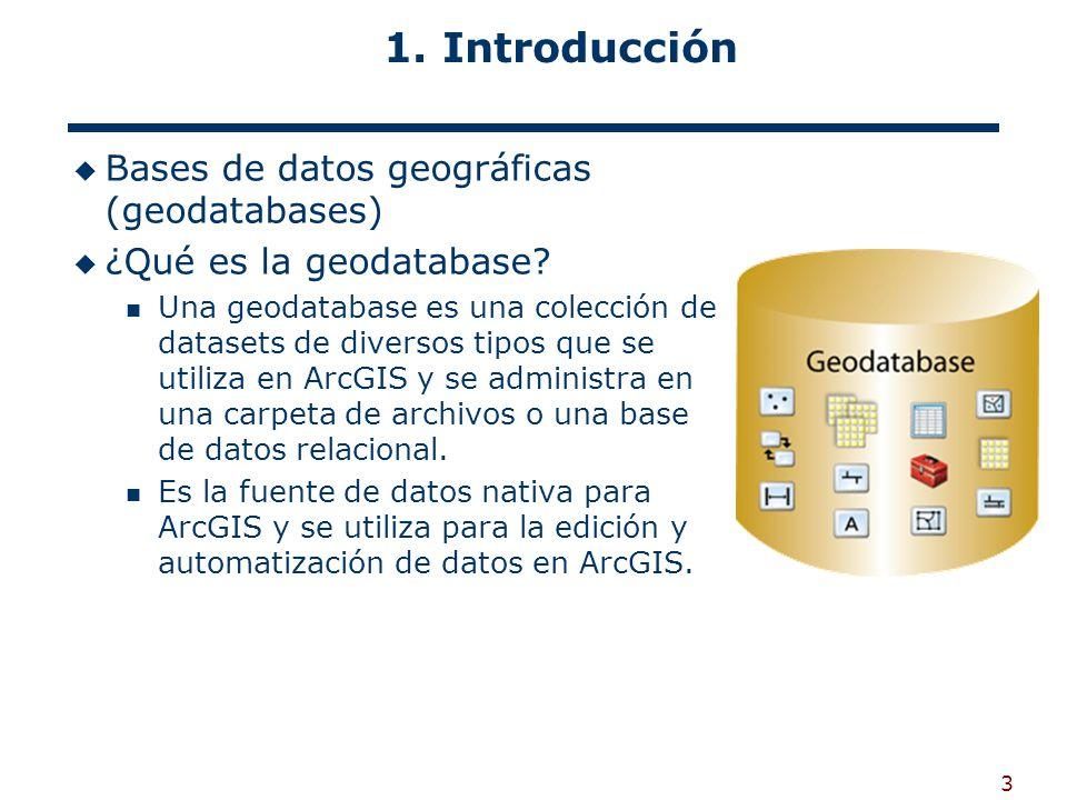 1. Introducción Bases de datos geográficas (geodatabases)