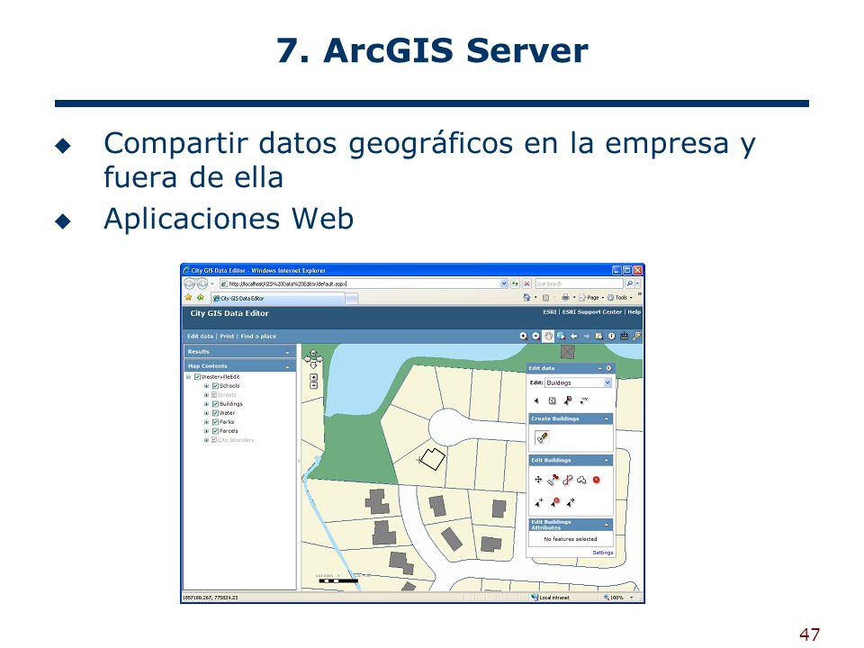 7. ArcGIS Server Compartir datos geográficos en la empresa y fuera de ella Aplicaciones Web