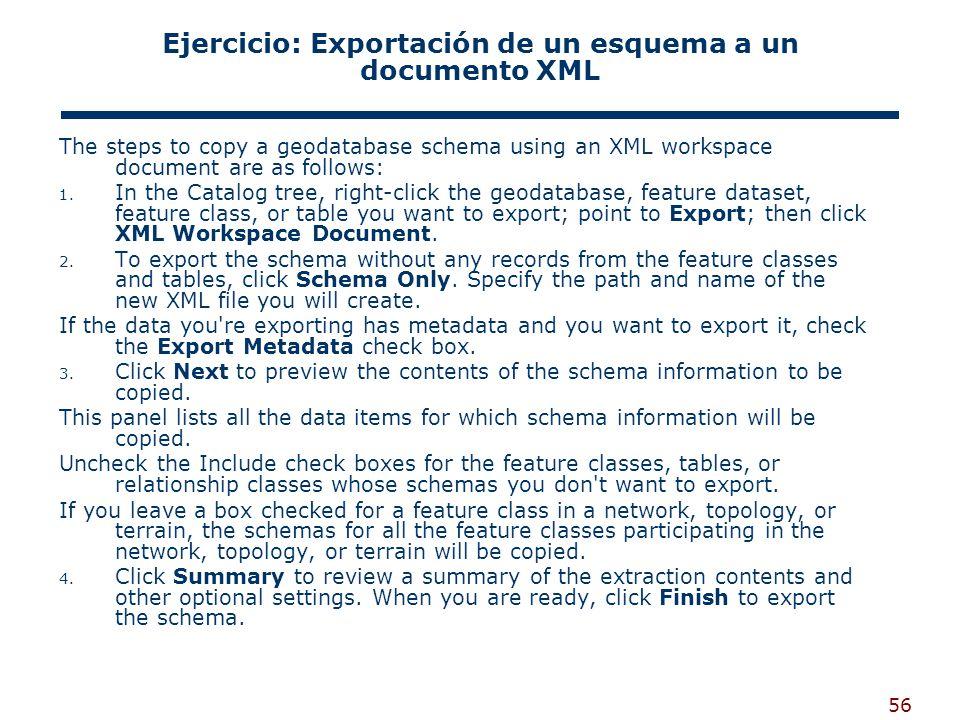 Ejercicio: Exportación de un esquema a un documento XML