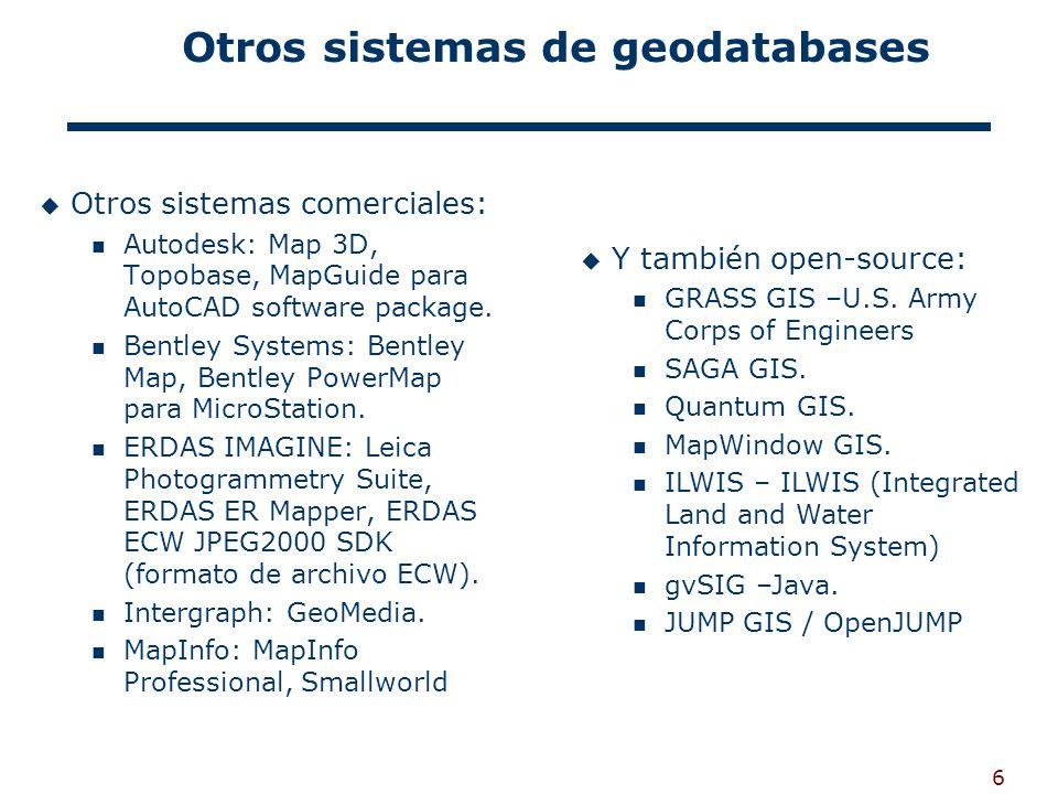 Otros sistemas de geodatabases