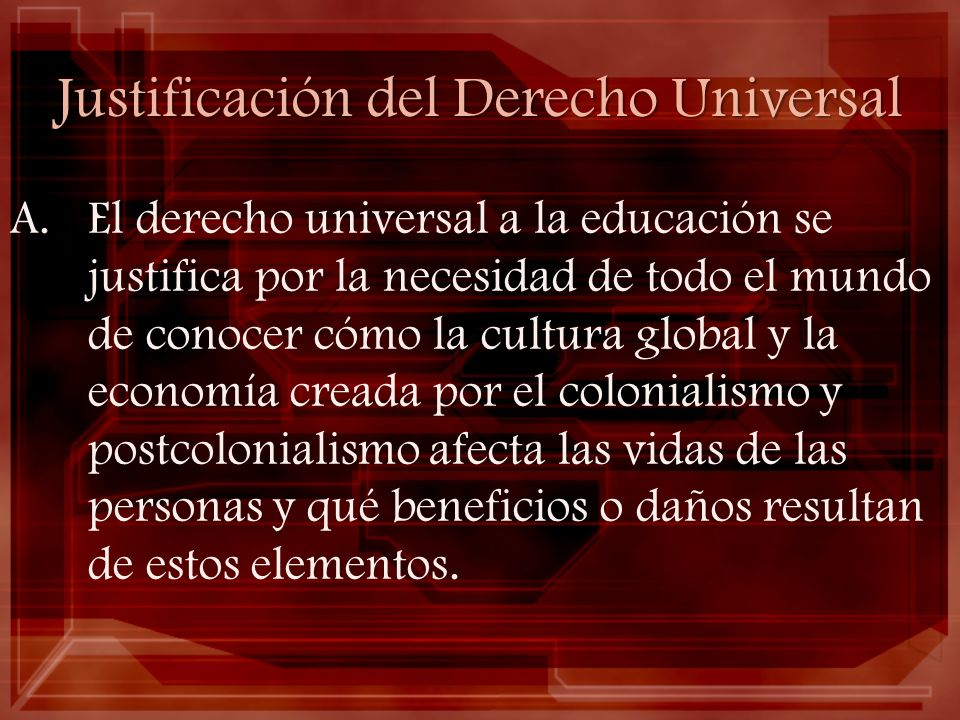 Justificación del Derecho Universal