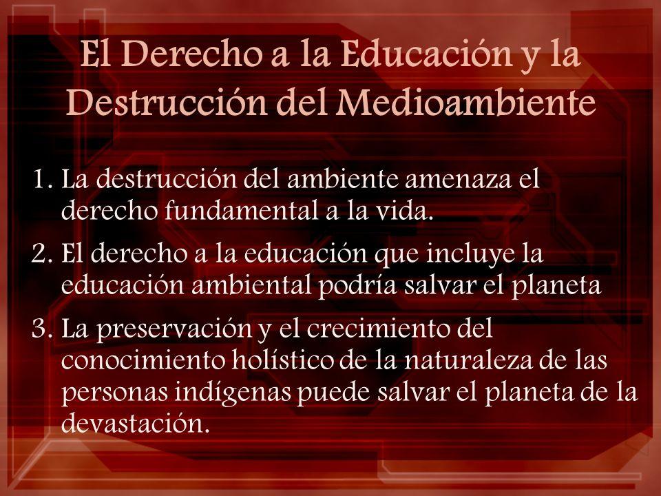 El Derecho a la Educación y la Destrucción del Medioambiente