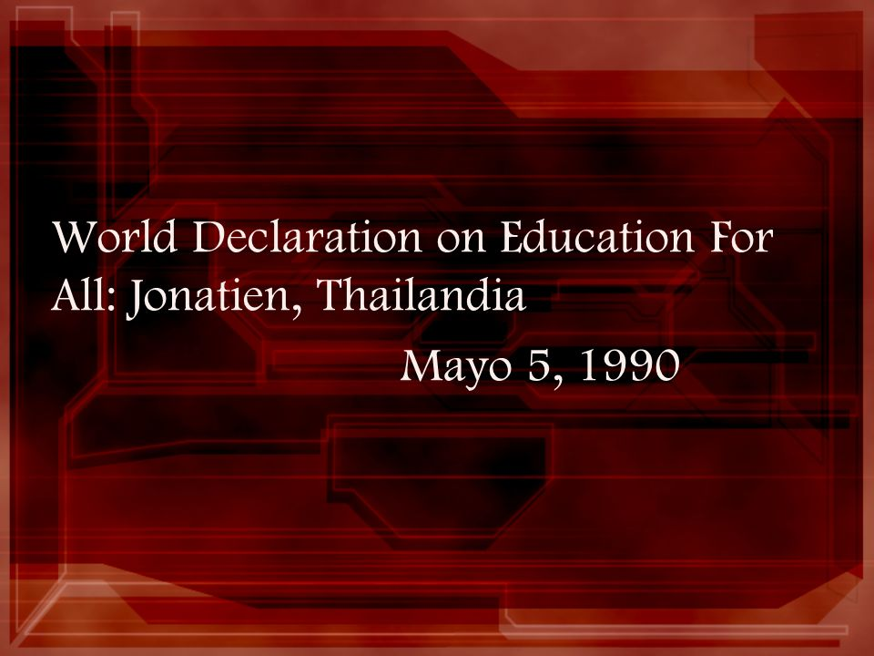 World Declaration on Education For All: Jonatien, Thailandia