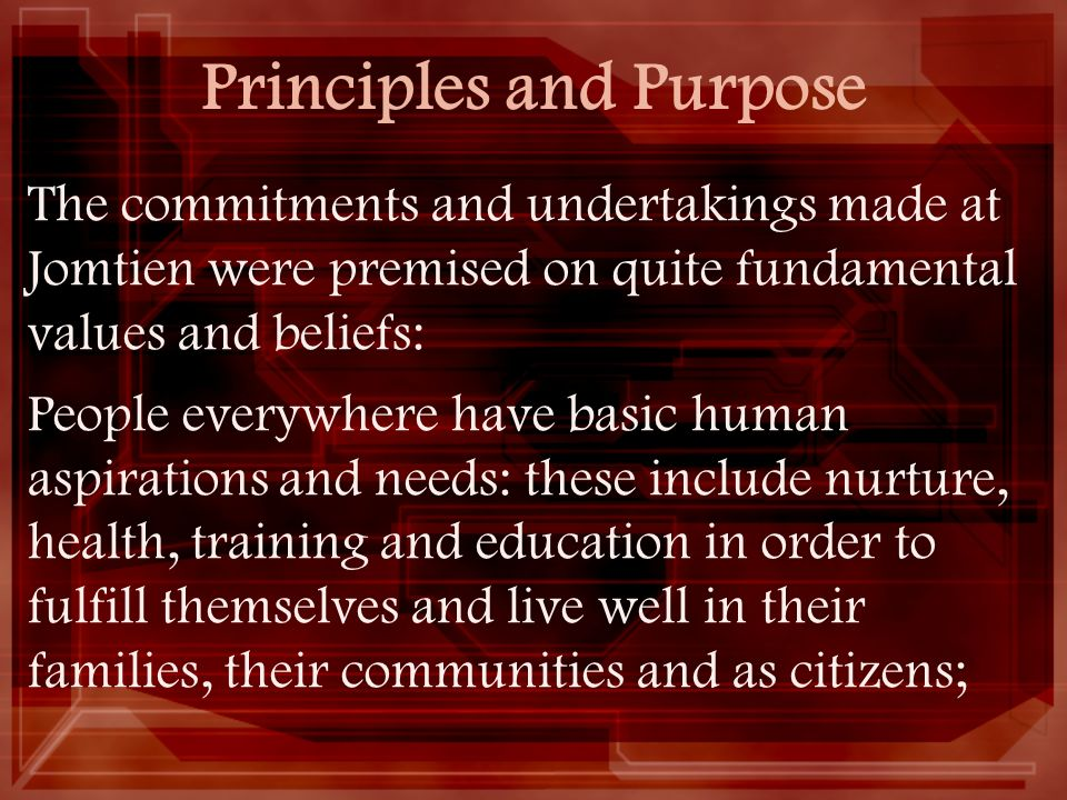 Principles and Purpose