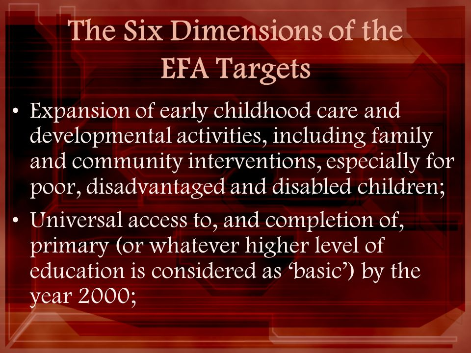 The Six Dimensions of the EFA Targets