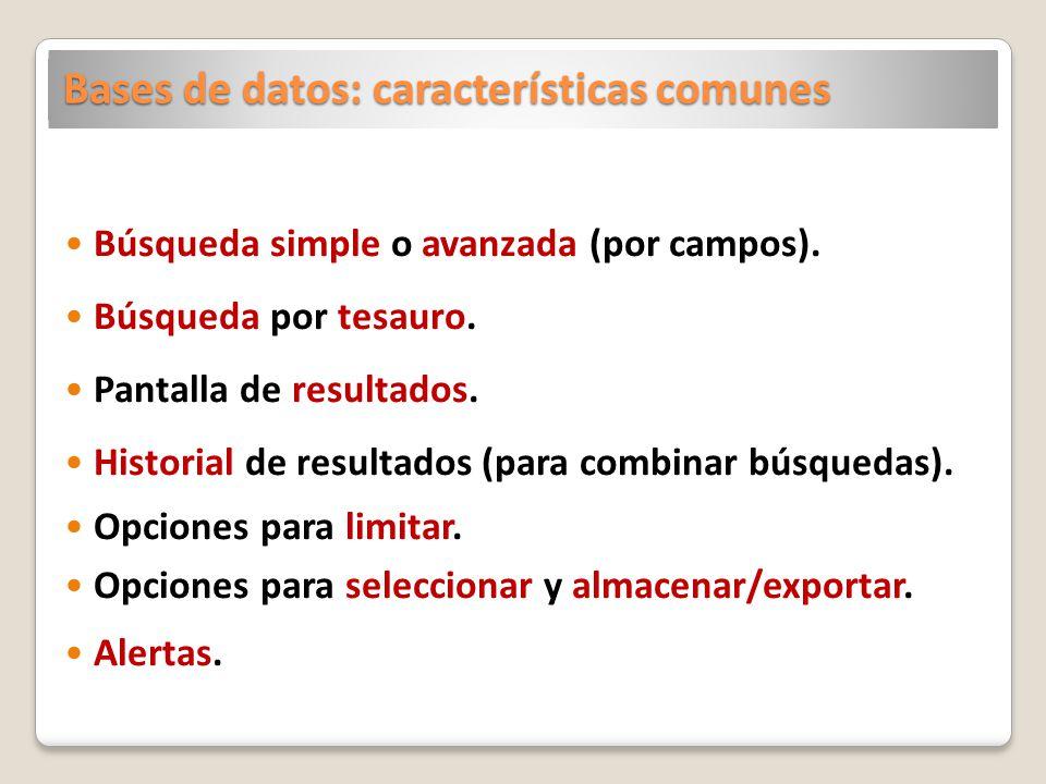Bases de datos: características comunes