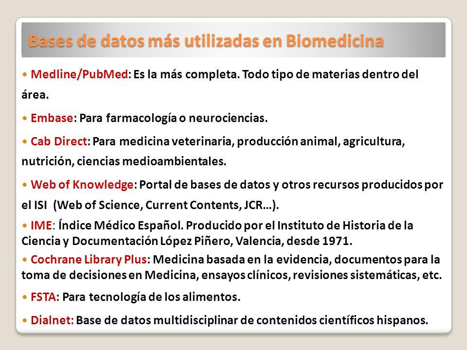Bases de datos más utilizadas en Biomedicina