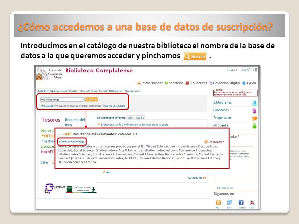 ¿Cómo accedemos a una base de datos de suscripción