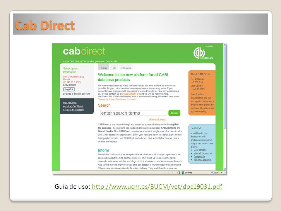 Cab Direct Guía de uso: http://www.ucm.es/BUCM/vet/doc19031.pdf